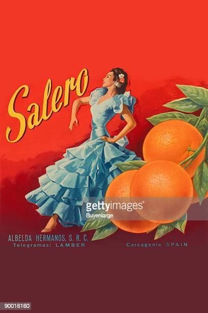 Spanish organges are promoted on this citrus crate label with a Spanish dancer This label is from the Albelda Hermanos orchards in Carcagente Spain...