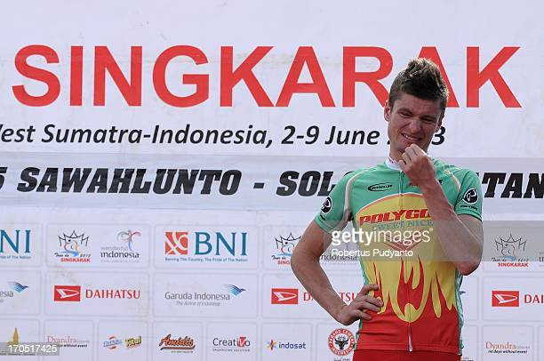 Spanish Oscar Pujol Munoz of Polygon Sweet Nice Cycling Team disappointed because it failed to win in stage 5 Tour de Singkarak 2013. Start from...