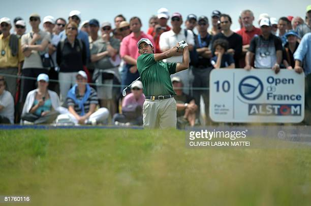 Spanish Pablo Larrazabal plays out of the fairway, on June 29, 2008 in Saint-Quentin-en-Yvelines, outside Paris, on the last day of the French Golf...