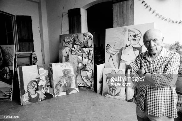 Spanish painter and sculptor Pablo Picasso is pictured at his home and studio in Mougins south of France on October 13 1971