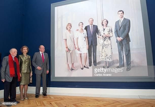 Spanish painter Antonio Lopez Queen Sofia of Spain and King Juan Carlos of Spain attend the El Retrato en las Colecciones Reales de Juan de Flandes a...