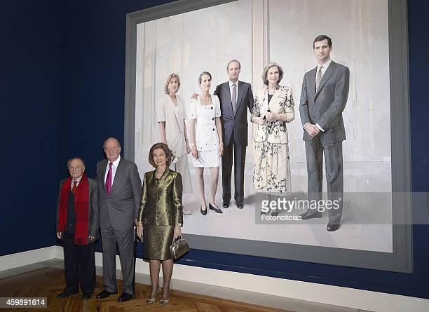 Spanish painter Antonio Lopez, Queen Sofia of Spain and King Juan Carlos of Spain attend the 'El Retrato en las Colecciones Reales, de Juan de...