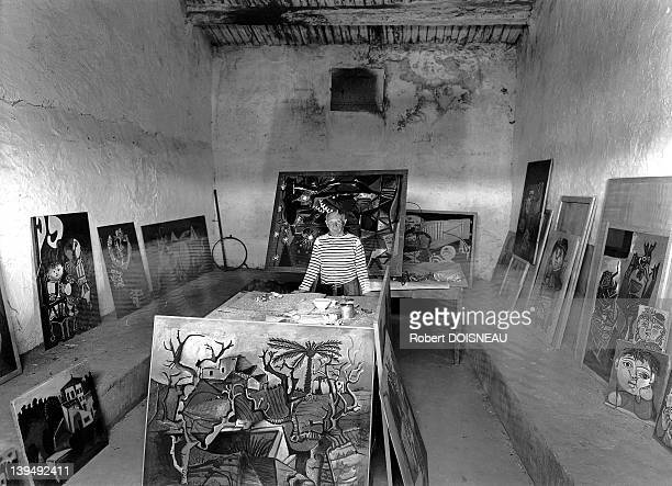 Spanish painter Pablo Picasso in his studio during 1952 in Vallauris, France.