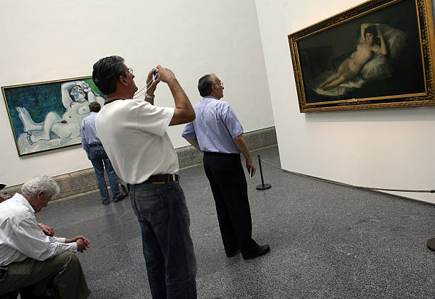 Spanish Painter Pablo Picassos Reclining Nude And The Maja By Francisco De Goya Are On Show At Prado Museum In Madrid Opening Day Of A