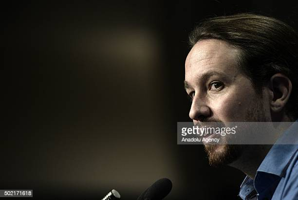 Spanish party 'Podemos' leader Pablo Iglesias addresses the media during a press conference at Theater Goya to analyze the results of the Spanish...