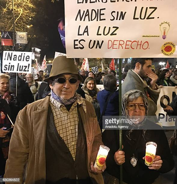 Spanish people come together by the call of non governmental organizations to protest against energy poverty and increased prices in Madrid Spain on...