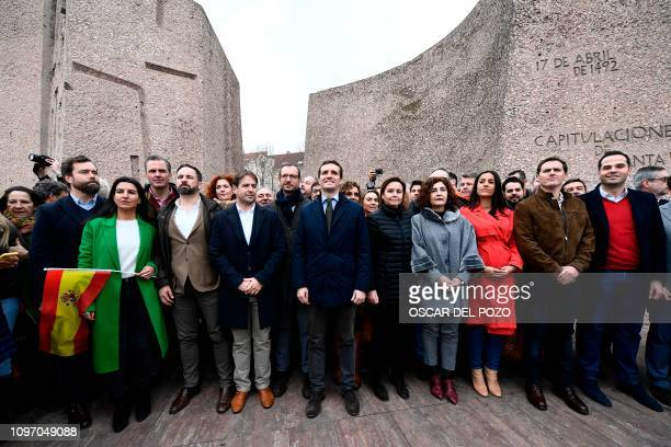 Spanish People's Party president Pablo Casado Spanish farright Vox party leader Santiago Abascal and Spain's Ciudadanos party leader Albert Rivera...