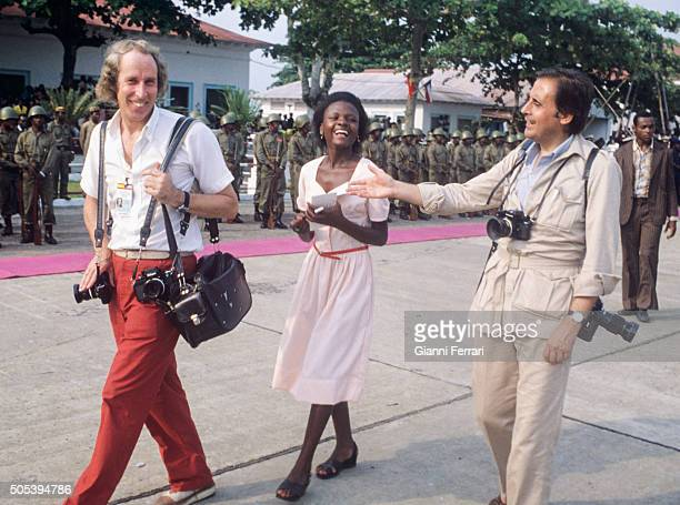 Spanish photographers Alberto Schommer and Jaime Penafiel during the trip of the Spanish Kings Juan Carlos of Borbon and Sofia of Greece to...