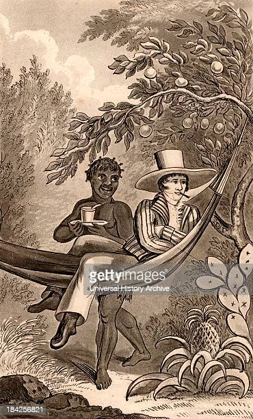 Spanish planter in Puerto Rico relaxing in his hammock on his pineapple and orange plantation He is smoking a cheroot and his servant/house slave...