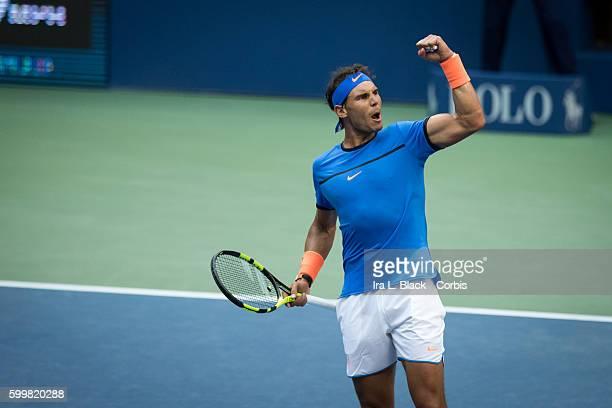 Spanish player Rafael Nadal ranked reacts to making shot during the 2nd Set of Tennis 2016 Arthur Ashe Stadium Round of 16 Rafael Nadal vs Lucas...