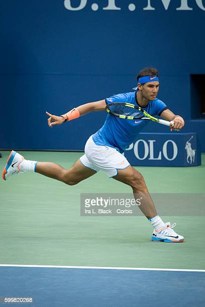 Spanish player Rafael Nadal ranked stretches for ball during the 2nd Set of Tennis 2016 Arthur Ashe Stadium Round of 16 Rafael Nadal vs Lucas Pouille...