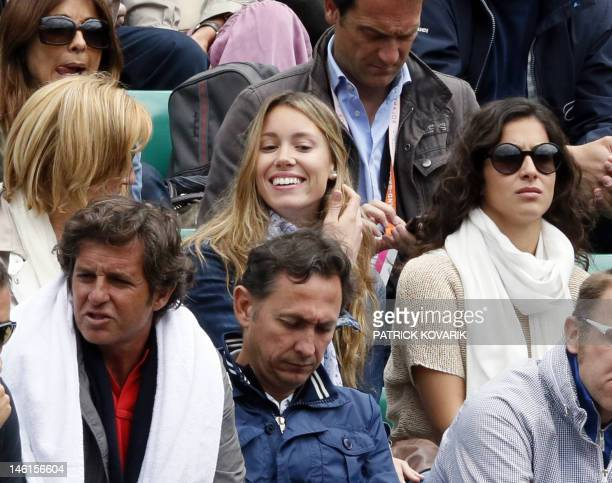 Spanish player Rafael Nadal's mother Ana Maria Parera sister Maria Isabel Nadal and girlfriend Maria Francisca Perello Xisca attend a tennis match...