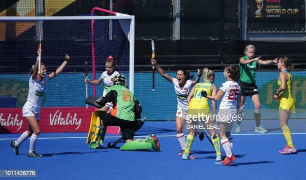 Spanish players celebrate after a goal by Spain's Alicia Magaz in the bronze medal field hockey match between Australia and Spain during the 2018...