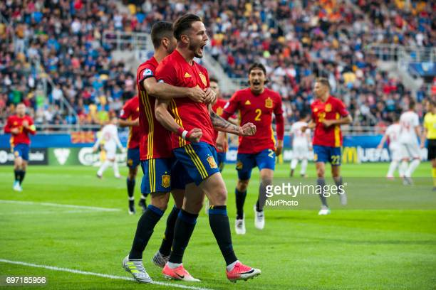 Spanish players celebrate after first goal during the UEFA Under 21 Championship Group B match between Spain and FYR Macedonia at Gdynia Stadium in...