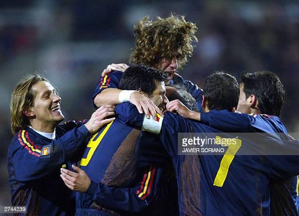Spanish players Michel Salgado Carles Puyol Juan Carlos Valeron , Joseba Etxeberria , Raul Gonzalez and Vicente Rodriguez celebrates after scoring...