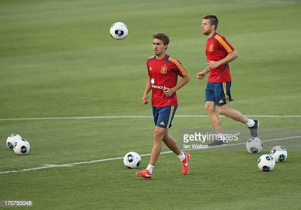 Spanish players warm up during a Spain Training Session before the UEFA European U21 Championships final at Kfar Saba Stadium on June 17 2013 in Kfar...