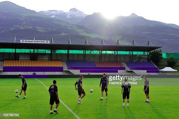 Spanish players warm up during a training session at Rheinpark Stadion on September 2, 2010 in Vaduz, Liechtenstein. World champions Spain will play...