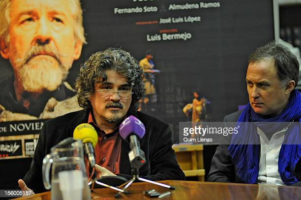 Spanish playwright Jose Ramon Fernandez and director Luis Bermejo attend the press conference for 'Yo soy Don Quijote de la Mancha' play at Espanol...