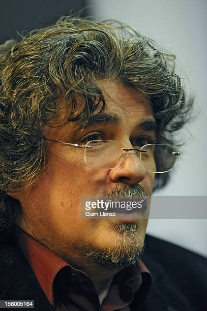 Spanish playwright Jose Ramon Fernandez attends the press conference for his play 'Yo soy Don Quijote de la Mancha' at Espanol Theatre on November 8...