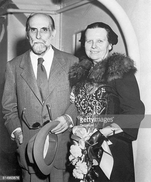 Spanish poet Juan Ramon Jimenez and his wife Zenobia Camprubi de Jimenez attend a social event in San Juan Puerto Rico