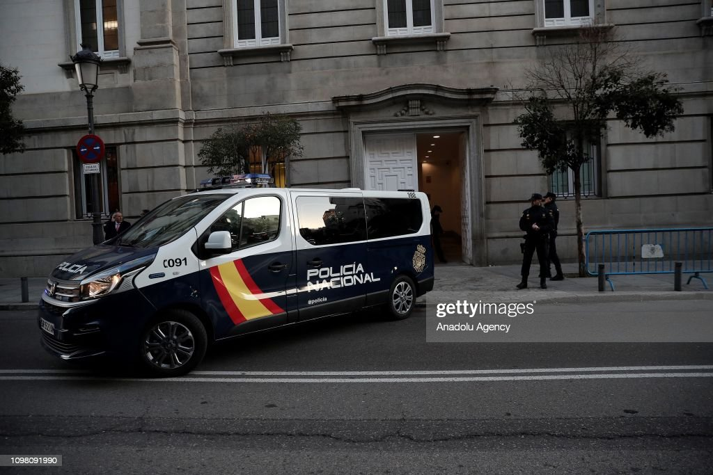 A Spanish police vehicle makes its way to the Supreme Court