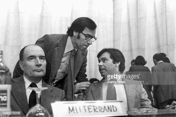 Spanish Politician Felipe Gonzalez French Politician François Mitterand and Alfonso Guerrain the union of the PSOE and the PSP Madrid Spain