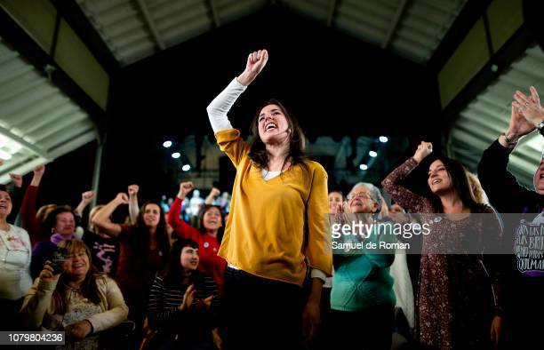 Spanish Politician Irene Montero takes part in the Women's Symposium on January 9 2019 in Madrid Spain During her first political appearance since...