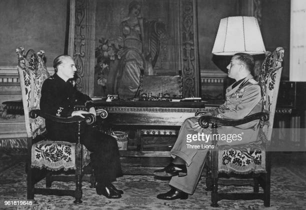 Spanish politician Ramon Serrano Suner Minister of the Interior and brotherinlaw of General Franco with Italian Foreign Minister Galeazzo Ciano circa...