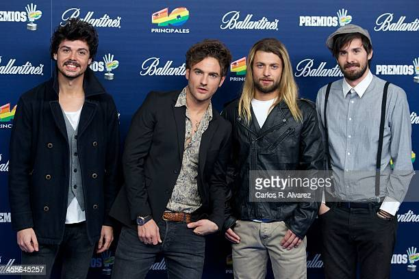 Spanish pop band El Viaje de Eliot attends the '40 Principales Awards' 2013 photocall at Palacio de los Deportes on December 12 2013 in Madrid Spain