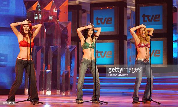 Spanish pop group 'The Ketchup' performs during the Spanish TVE Special Gala show September 16 2002 in Madrid Spain