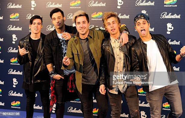 Spanish Pop Rock band Amelie members attend the 40 Principales Awards 2015 photocall at Barclaycard Center on December 11 2015 in Madrid Spain