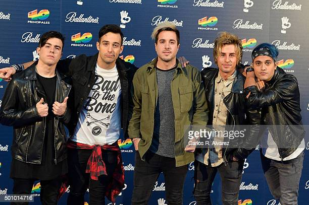 Spanish Pop Rock band Amelie members attends the 40 Principales Awards 2015 photocall at the Barclaycard Center on December 11 2015 in Madrid Spain
