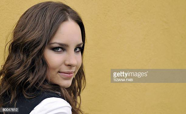 Spanish pop singer Belinda poses during a press conference at the Ariston Theatre in Sanremo during the 58th Italian Music Festival on February 28...