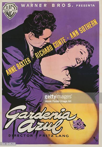 A Spanish poster for Fritz Lang's 1953 crime film 'The Blue Gardenia' starring Anne Baxter and Richard Conte