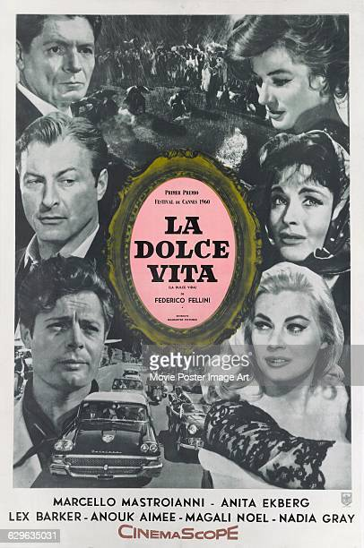 A Spanish poster for the 1960 Italian comedydrama film 'La Dolce Vita' written and directed by Federico Fellini The film stars Marcello Mastroianni...