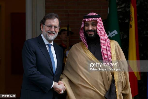 Spanish President Mariano Rajoy poses for the press as he receives Saudi Arabia Crown Prince Mohammed bin Salman at Moncloa Palace on April 12 2018...