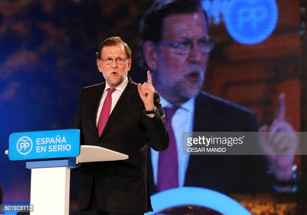 Spanish Prime Minister and Popular Party leader and candidate for the upcoming December 20 general election Mariano Rajoy speaks during meeting held...