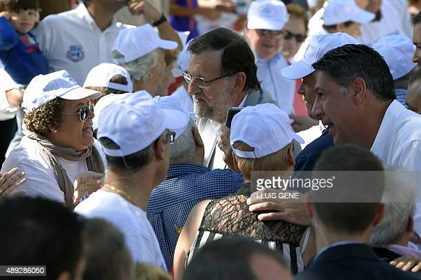 Spanish Prime Minister and Popular Party leader Mariano Rajoy and Popular Party in Catalonia candidate for the upcoming Catalan regional election...