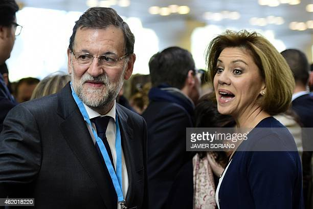 Spanish Prime Minister and Popular Party President Mariano Rajoy and President of Castilla la Mancha's regional government and Popular Party General...