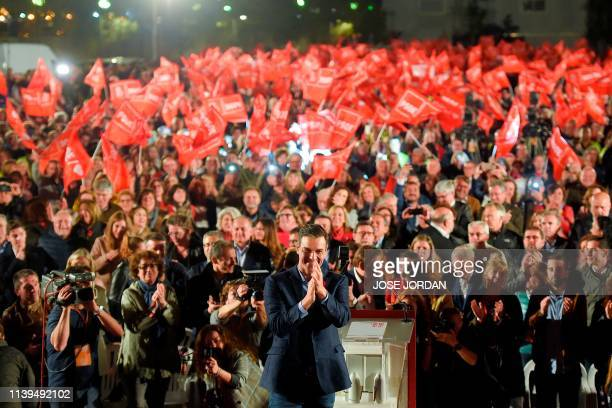 Spanish Prime Minister and Spanish Socialist Party candidate for prime minister Pedro Sanchez acknowledges supporters during the last campaign rally...