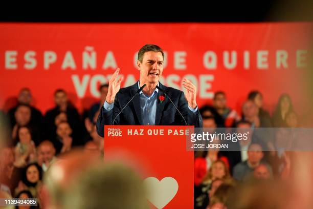 Spanish Prime Minister and Spanish Socialist Party candidate for prime minister Pedro Sanchez addresses supporters during the last campaign rally in...