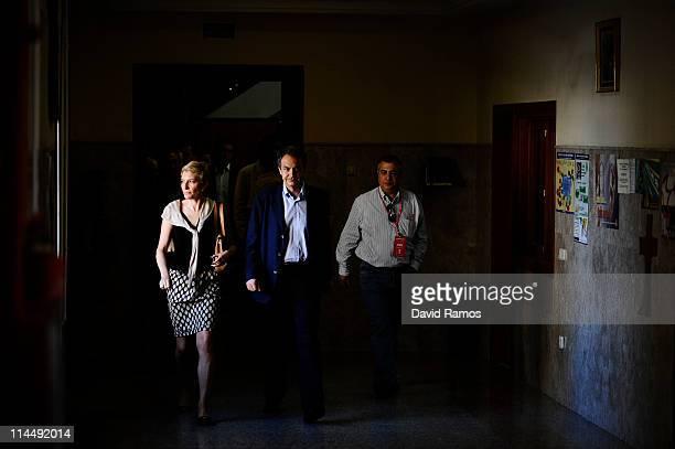 Spanish Prime Minister Jose Luis Rodriguez Zapatero and his wife Sonsoles Espinosa arrive at the Colegio Nuestra Senora del Buen Consejo to cast...