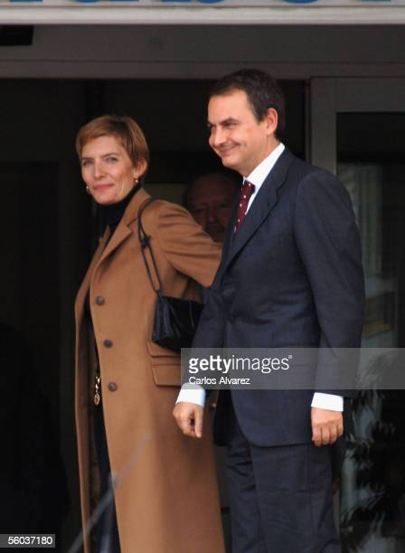 Spanish Prime Minister Jose Luis Rodriguez Zapatero and his wife Sonsoles Espinosa arrive for a visit with Princess Letizia at the Ruber clinic where...