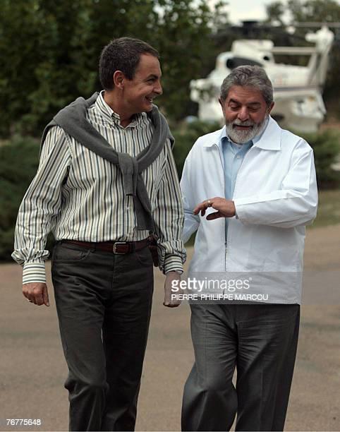Spanish Prime Minister Jose luis Rodriguez Zapatero chats with Brazilian President Luiz Inacio Lula da Silva at Quintos de Mora ranch near Toledo 15...