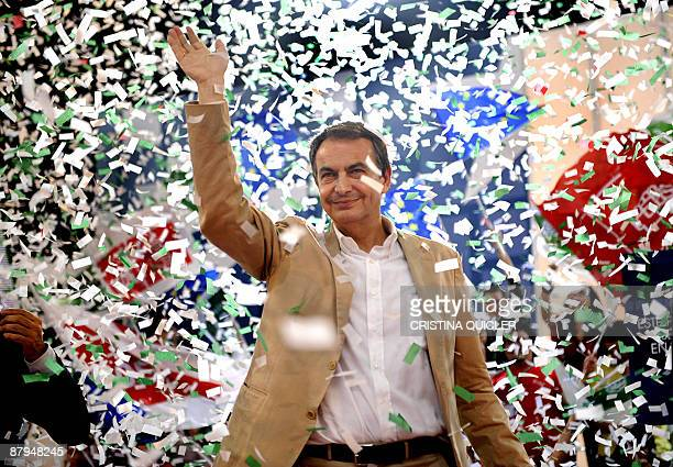 Spanish Prime Minister Jose Luis Rodriguez Zapatero gestures during a political meeting of the ruling Socialist Party in Sevilla on May 24 2009...