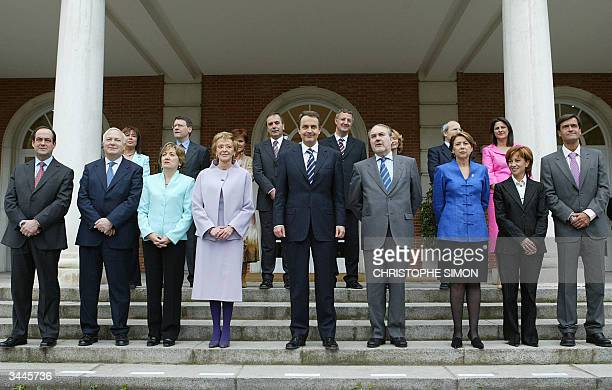 Spanish Prime minister Jose Luis Rodriguez Zapatero poses with his cabinets ministers on the steps of the Moncloa Palace for the family picture 19...