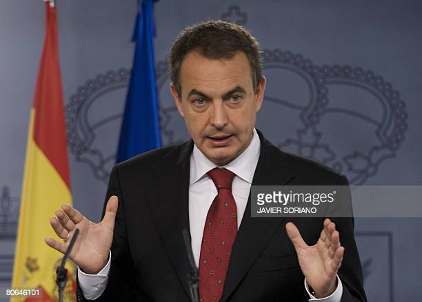 Spanish Prime Minister Jose Luis Rodriguez Zapatero speaks at a press conference at the Moncloa palace to announce his new cabinet in Madrid on April...
