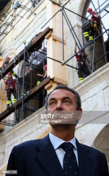 L'AQUILA ITALY JULY 10 Spanish Prime Minister Jose Luis Rodriguez Zapatero visits the Spanish fort that was damaged by the earthquake during the...