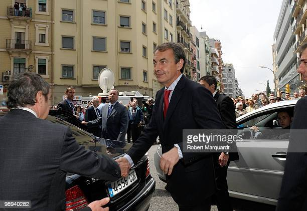 Spanish Prime Minister Jose Luis Rodriguez Zapatero visits the King Juan Carlos I of Spain at the Hospital Clinic of Barcelona after he had an...