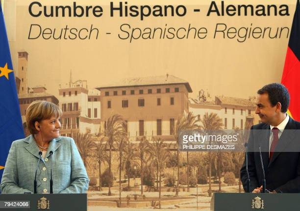 Spanish Prime Minister Jose Luis Zapatero and German Chancellor Angela Merkel give a joint press conference during a bilateral summit in Palma de...